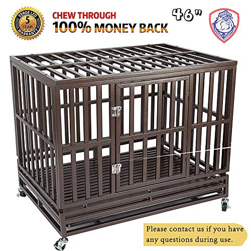 (Haige Pet Your Pet Nanny Heavy Duty Dog Cage Kennel Crate Playpen Metal Strong for Training Large Dogs Indoor Outdoor with Door & Locks Design Included Lockable Wheels, Easy to Install, 46'')