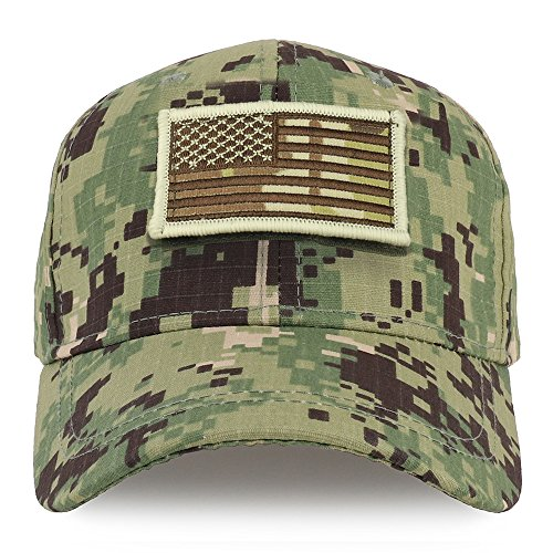 Trendy Apparel Shop Youth Military Camo Combat American Flag Patch Tactical Cap - NWU Camo by Trendy Apparel Shop