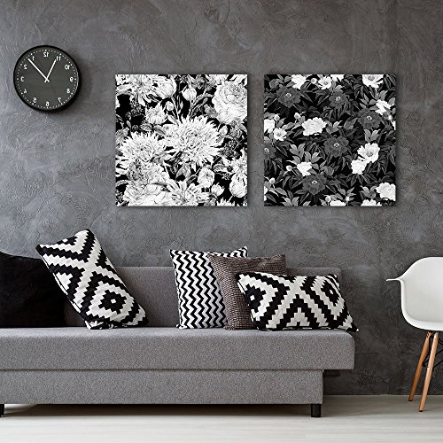 2 Panel Square Floral Pattern in Black and White Gallery x 2 Panels