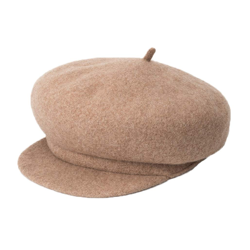 Women Vintage Newsboy Caps Camel Color Woolen Flat Top Hat Winter Fashion Warm Fedora Hat by SANOMY