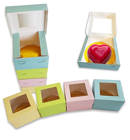 CooKeezz Couture – Cajas para pasteles de ventana de 10 cm de largo x 10 cm de ancho x 6,35 cm de alto, caja de pastelería para emergencias automáticas ideal para regalos,