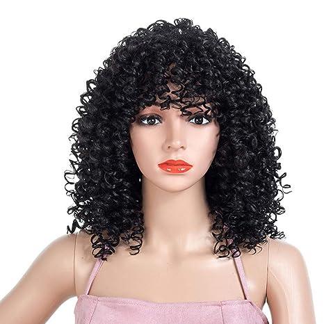 16 Pulgadas Corto Onda Peluca Negra Sintético Resistente Al Calor Fibra Afro Rizado Pelucas De Pelo