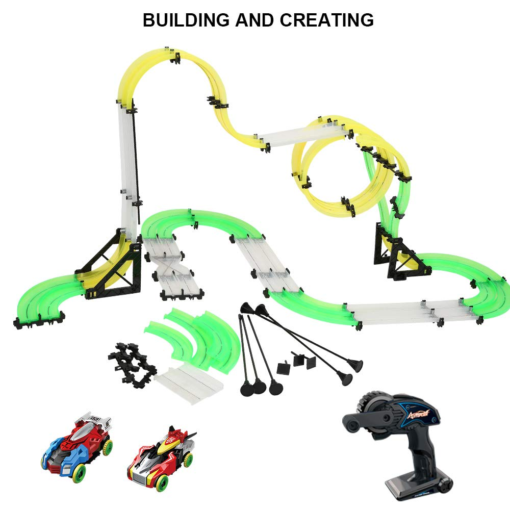 LEDshope RC Car Race Track Set Slot Car Track Set with 2 Remote Control Cars and 38 ft of Flexible Building Tracks for Boys or Girls,Fun Racing Set for Kids