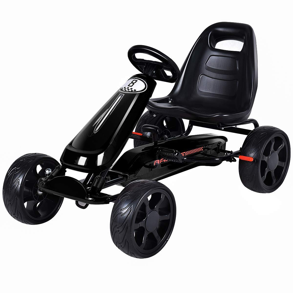 Costzon Go Kart, 4 Wheel Powered Ride On Toy, Kids' Pedal Cars for Outdoor, Racer Pedal Car with Clutch, Brake, EVA Rubber Tires, Adjustable Seat (Black Go Kart)