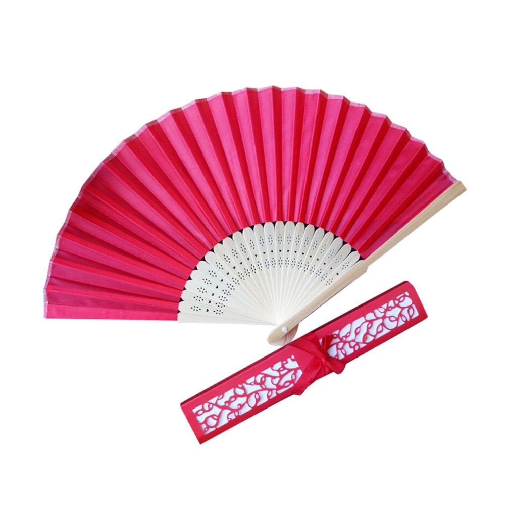 21CM Wedding Hollow Fan + Open Box,Mamum Stunning Silk Fans With Gift Box Wedding Favours Beach Party (Hot pink)