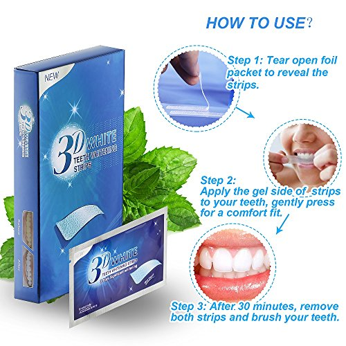 Teeth Whitening Strips, Herwiss 3D White Whitestrips with Mint Flavor for Gum Health and Refresh Breath, Dental Whitener Kit Elastic Gels for Teeth Stain Removal - 28pcs 14 Treatments for Teeth Care by Herwiss (Image #5)