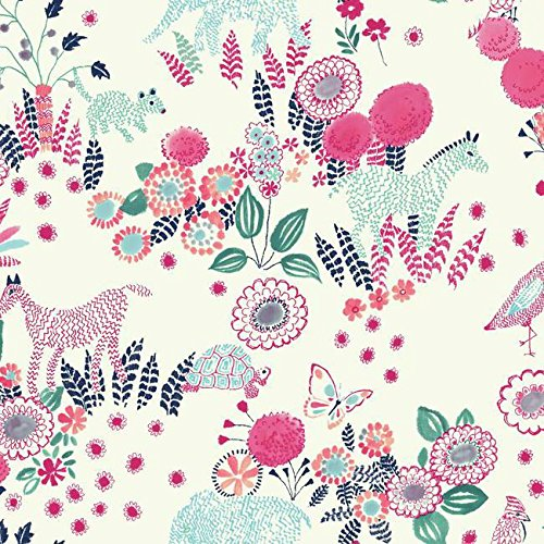 - York Wallcoverings Waverly Kids Reverie Removable Wallpaper, White/Navy/Pink/Turquoise/Teal