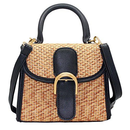 (Boshiho Retro Straw Woven Handbag Womens Small Cross Body Bag Shoulder Messenger Satchel (Black))