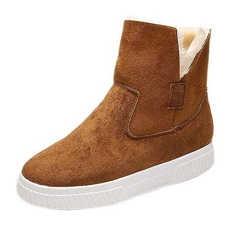 Oudan Botas Mujer Zapatos Botines Moda Mujer Sólido Faux Suede Cálido Botas para la Nieve Creepers Plataforma Zapatos Casuales Botines (Color : Negro, ...