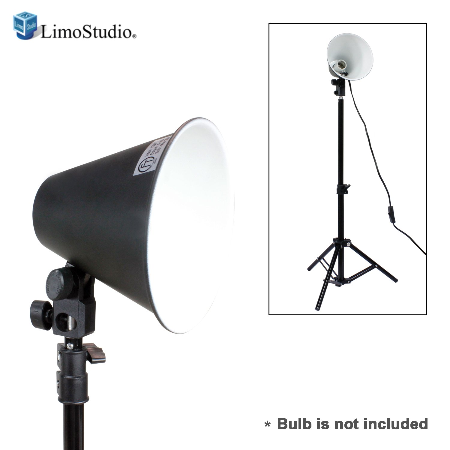 LimoStudio 6.5 Inch Diameter Photography Table Top Continuous Light Head with 28'' Mini Aluminum Photography Back Light Stand for Table Top Photo Studio Light (Bulb is NOT included), PR23_AM1 by LimoStudio
