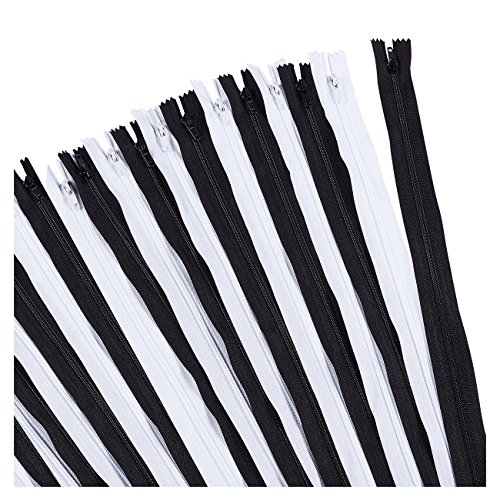 Nylon Coil Zipper - 50-Pack 24-Inch Zippers, Non-Separating All-Purpose Zippers for Tailor Sewing Crafts, Replacement, 25 Black and 25 White