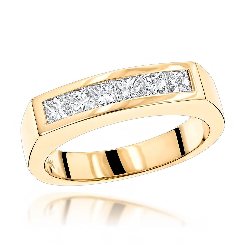 Luxurman Unique 14K Gold Natural 0.6 Ctw Real Diamonds Mens Wedding Band
