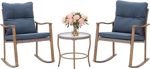 HOMPUS 3-Piece Rocking Chairs Bistro Set Outdoor Wicker Patio Furniture Woodgrain Arm Rest w Blue Cushions