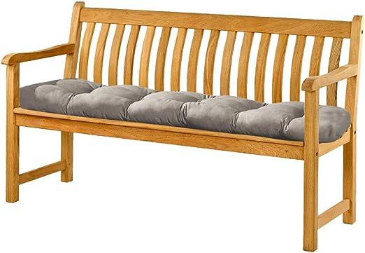 luckystoreme - Cojín de banco para exteriores, 100 x 50 cm, 2 plazas, algodón, cómodos cojines para banco de jardín o columpio, color gris: Amazon.es: Hogar