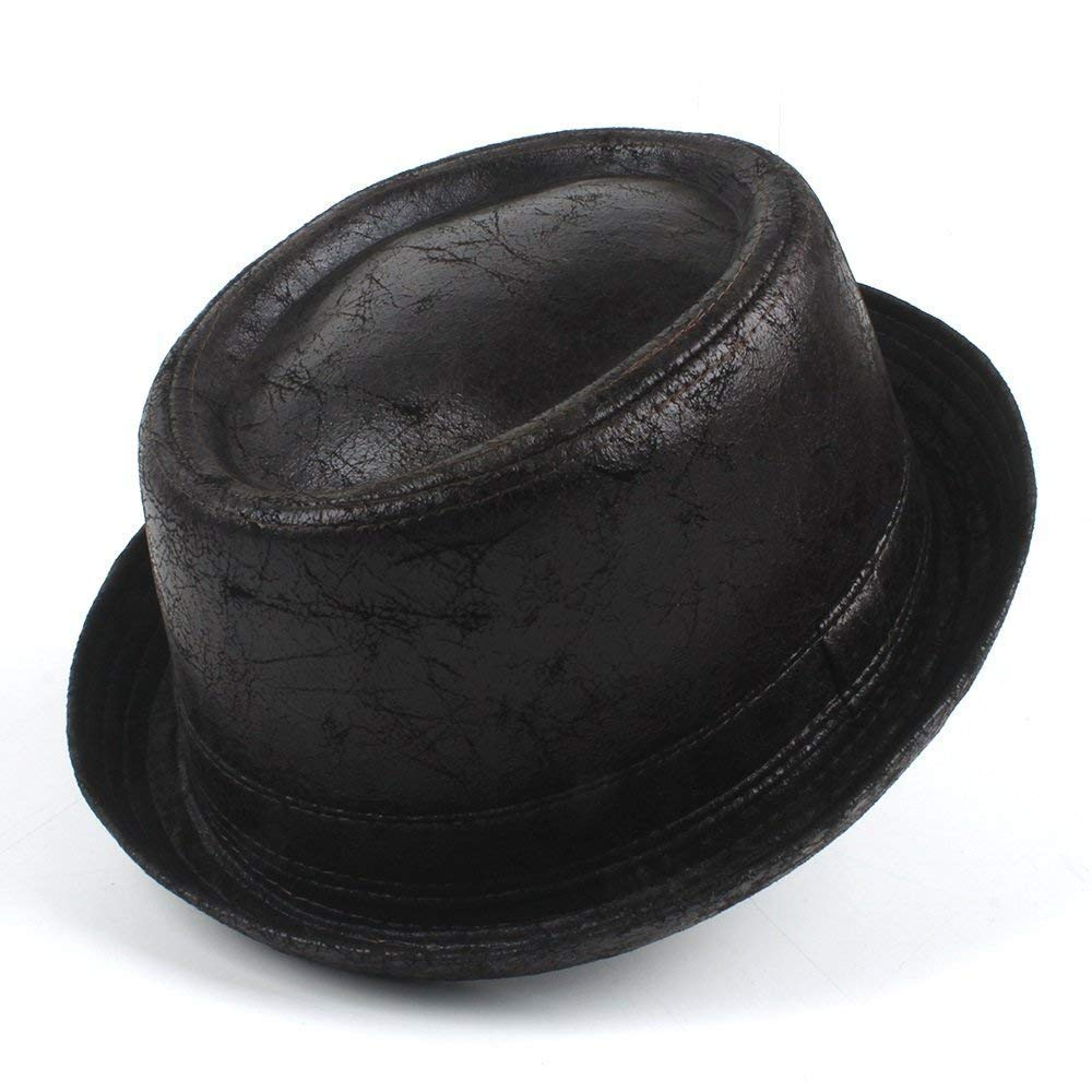YChoice A Superb hat Vintage Leather Pork Pie Fedora Hat Men Boater Flat Top Hat for Gentleman Bowler Gambler Top Hat Big Size Dropshipping for Perfect Winter