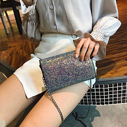Diamond Crystal Leather Chain Sequins 2018 shoulder Crossbody Bags Handbags Women Rhinestone Sixcup with Fashion Holographic Bling 0UqAxg8