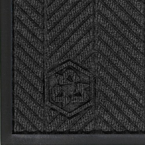 Andersen 2240 Waterhog Classic ECO Elite PET Polyester Entrance Indoor Floor Mat, SBR Rubber Backing, 6' Length x 4' Width, 3/8'' Thick, Black Smoke by Andersen