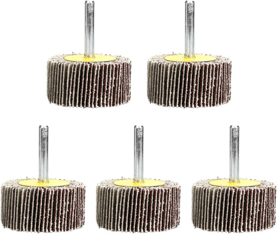 Wood and Paint 40 * 25 * 6mm 5 PCS Flap Wheels Set,Sanding Flap Wheels Sander for Drills Sandpaper Flap Wheel Disc 120 Grits,Aluminum Oxide for Remove Rust and Weld,Suitable for Metal