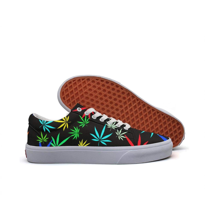 KK ldfd Marijuana Leaves Print Women's Fashion Sneaker Loafers for Women Canvas Upper Skate Shoes Slip-on Cut Low Top Lace up Flat Casual US Size 5.5-10