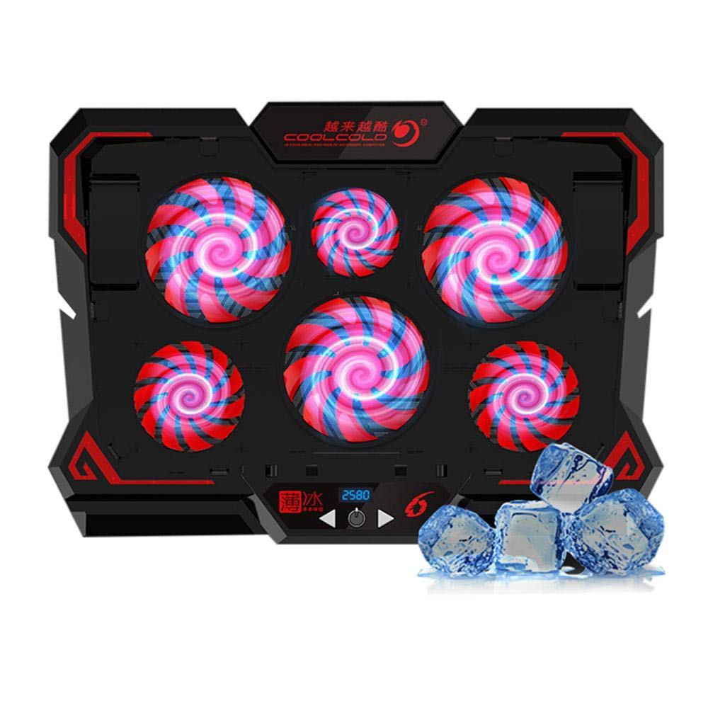 Hamkaw Gaming Laptop Cooling Pad Stand with 6 Red LED Fans and Phone Holders Dual USB Ports Laptop Cooler 900-2600RPM 5 Wind Speed Adjustable for 12 to 17 Inch Computer
