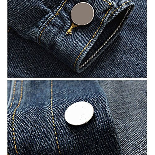 Gift Slim Fit Mens Denim calidad Long Boyfriend Outerwear Classic Coat Sleeve alta Azul Jacket Zhuhaitf Father nxw6I14w