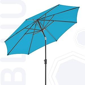 BLUU Olefin 10 FT Patio Market Umbrella Outdoor Table Umbrellas, 3-year Nonfading Olefin Canopy, Market Center Umbrellas with 8 Strudy Ribs & Push Button Tilt for Garden, Lawn & Pool (Azure Blue)