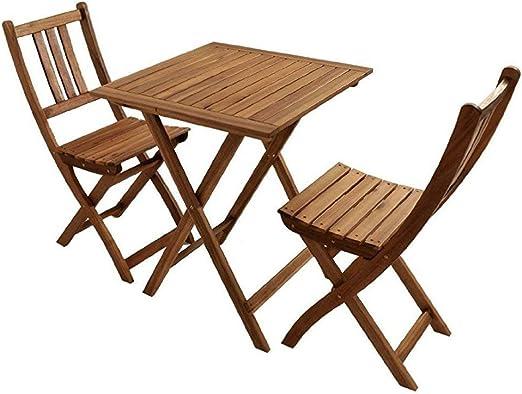 SAM® Conjunto para balcón, 3 Piezas, Mueble de jardín de Madera de ...