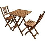 SAM 3-tlg. Balkongruppe, Garten-Möbel aus Akazienholz, 1x Tisch + 2x Klappstuhl,FSC® 100% zertifiziert Tischgruppe
