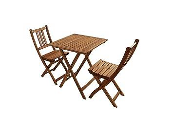 SAM® Salon de balcon, 3 pièces, meubles de jardin en bois d\'acacia, 1 x  table + 2 x chaises pliantes, huilé, pliable, ensemble de fauteuils en bois  ...