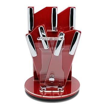 Crystallove 360° Rotating 3 Layer Acrylic Kitchen Knife Block Set Ceramic  Knife Storage Stand Holder