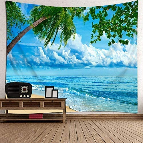 Wall Hanging Tapestry Sunset Ocean Beach Tapestry Coconut Tree Seascape Tapestry Sea Landscape Wall Tapestry for Bedroom Wall Art 80 x 60 , Color 1
