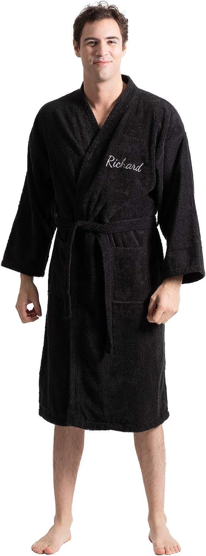 Turkuoise Men's Terry Cloth Robe Turkish Cotton Terry Kimono Collar at  Men's Clothing store
