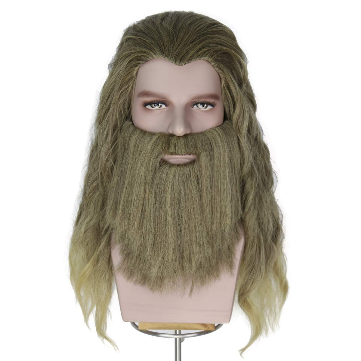 Yan Dream Men Long Blonde Wig Thor Endgame Mustache Cosplay Hair Wigs Halloween