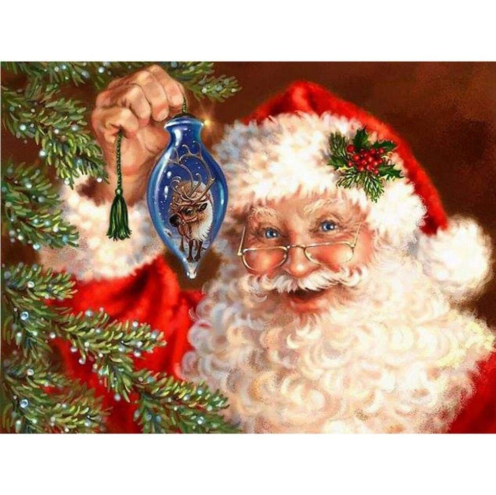 A, 30x25cm Santa Claus Christmas Cross Stitch Kit Embroidery Rhinestone 5D Diamond Painting by Number Kits Home Decor DIY 5D Diamond Painting