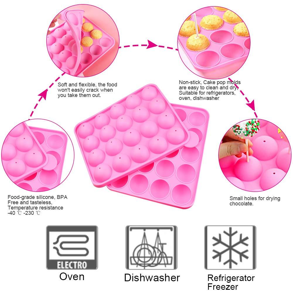 Palline Diametro 3.5cm 40 /° C a 230 /° C Set di Cake Pops con 100 Bastoncini e Buste e Fascette per Cake Pops DIY Torta DECARETA Cake Pops Stampo in Silicone Cake Pop Forma Resistente al Calore da