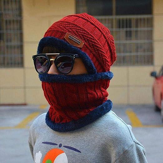 Suogry 2Pcs Gorra de esquí y Bufanda de Cuero Caliente Sombrero de ...