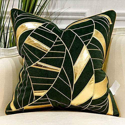 Avigers 18 x 18 Inches Navy Green Gold Striped Cushion Cases Luxury European Throw Pillow Covers Decorative Pillows for Couch Living Room Bedroom Car (And Gold Cushions Green)