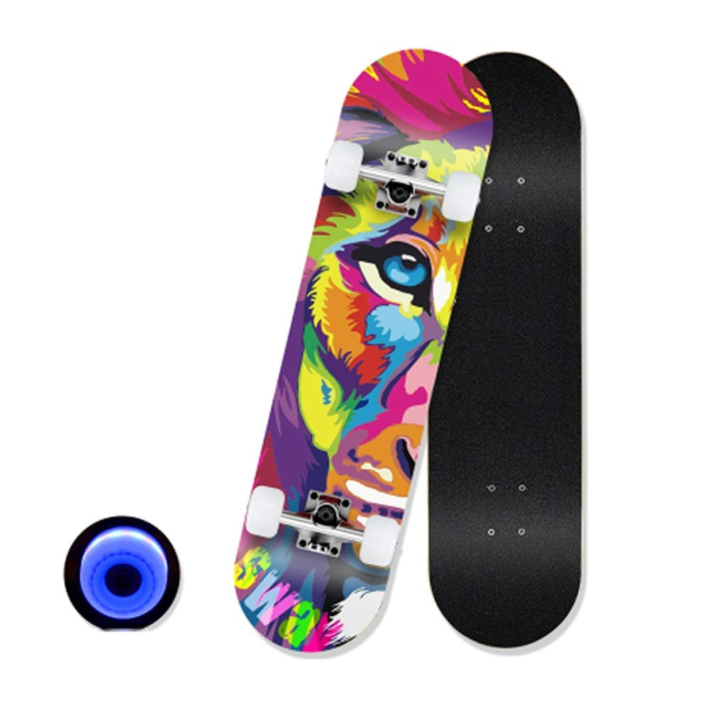 Sljj クルーザースケートボード LEDライトアップホイール付き コンプリート 7層の天然ハードロックメープル スケートボード 80X20cm (Color : B) B