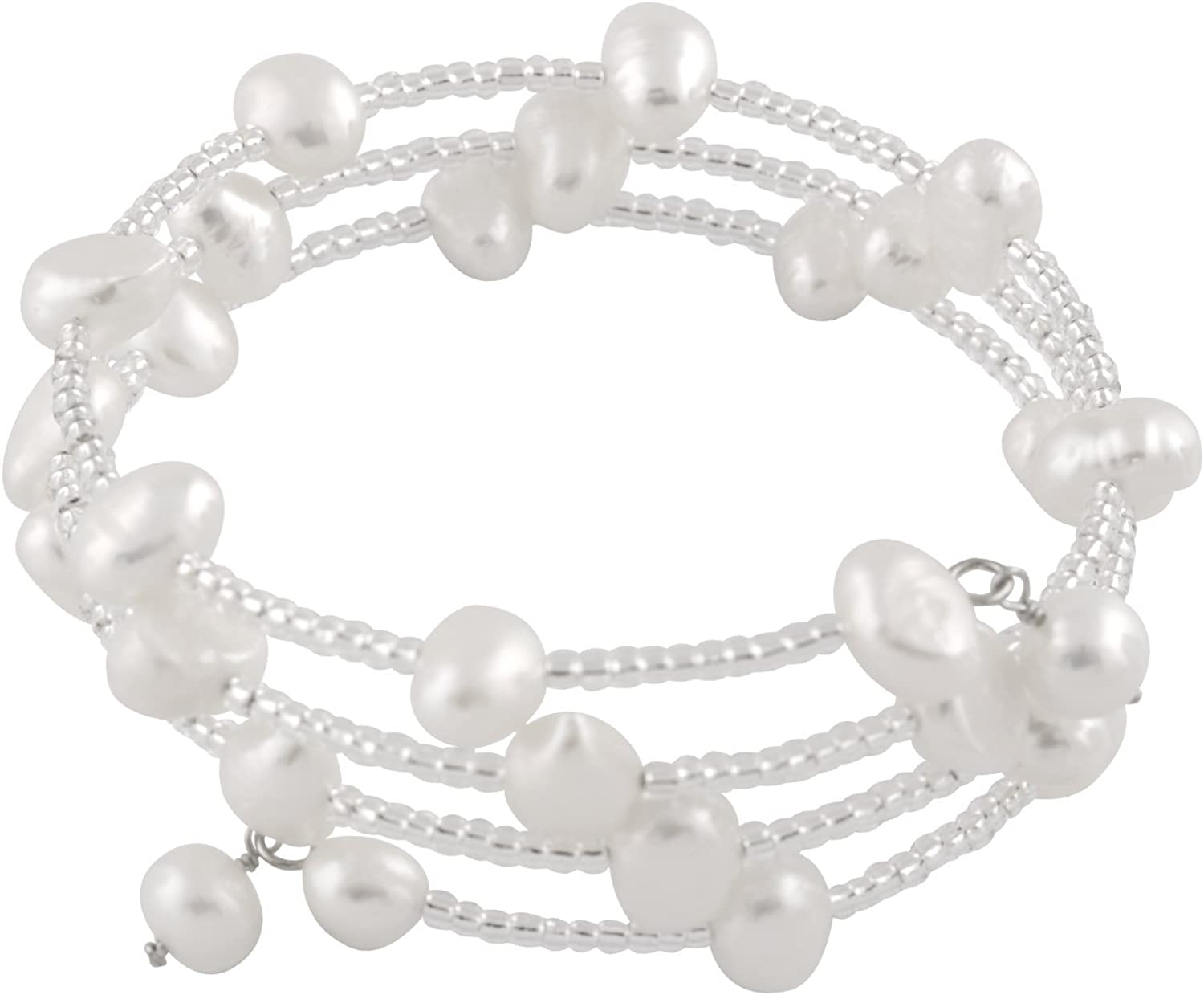 Sterling Silver Flex Fit Bangle Wrap Bracelet 3-Row Handpicked AA 6-7mm Baroque Freshwater Cultured Pearls ✦ June Birthstone ✦