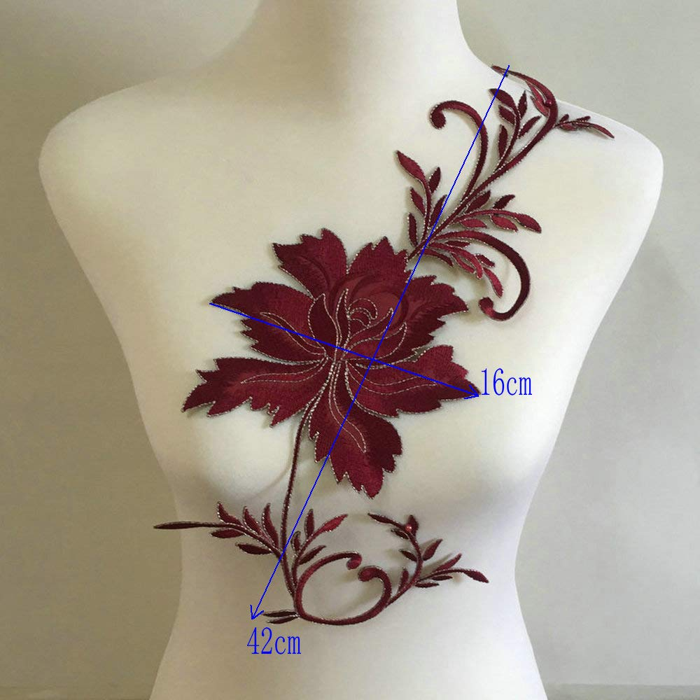 2pcs White Flowers Iron On Patches Garment Applique Embroidery DIY Accessory Cheongsam Skirt Clothes White A