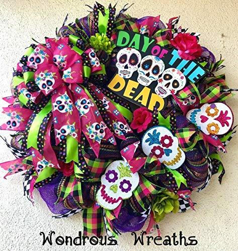 WONDROUS WREATHS Day of The Dead, Dia de Muertos Decor Wreath with 3 Glittery Sugar Skulls, Sign, Sugar Skulls Ribbons, Flowers, Deco Mesh, Ribbons, Door and Wall Decor, Halloween-24 Wide]()