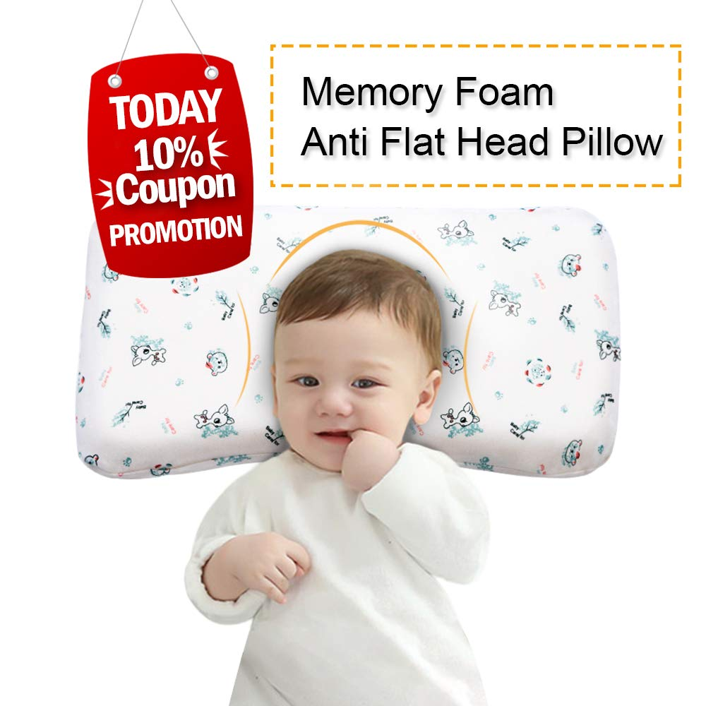 Baby Pillow Anti Flat Head,Mkicesky Memory Foam Infant Pillow for 0-2T Baby Girl and Boy, Newborn Head Shaping Sleeping Pillow with Neck Support, Washable Cotton Cover - Giraffe White by Mkicesky
