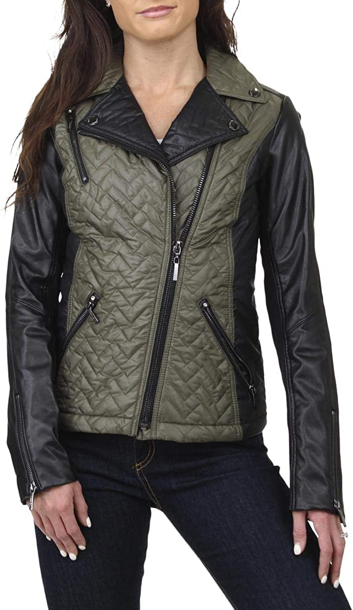 Laundry by Shelli Segal Women's Two Tone Asymmetric Quilted Moto Jacket