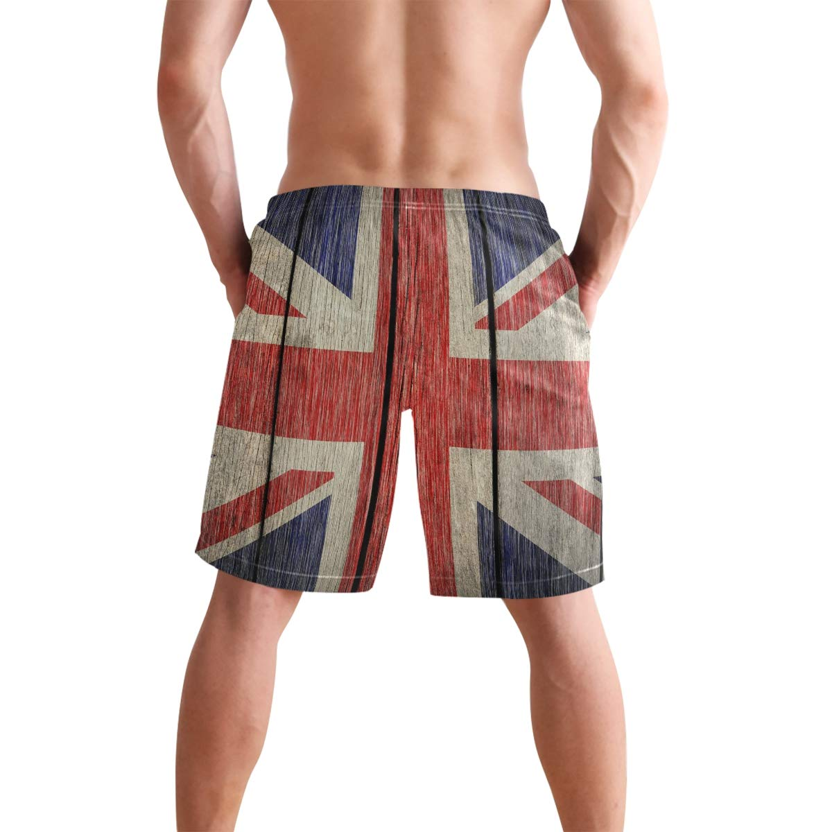 Love Needs Mens Swim Trunks UK Flag Retro Wood Board Drawstring Boardshorts