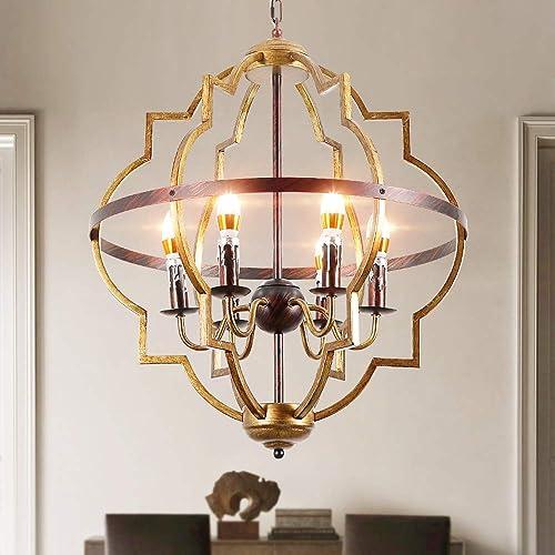 Rustic Chandelier,6-Lights Vintage Metal Chandelier Lighting,Classy Farmhouse Pendant Light