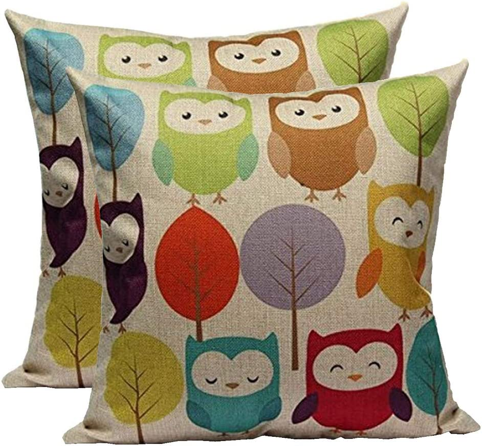 Throw Pillow Covers Decorative Square Cotton Linen Pillow Covers, Set of 2 Soft Cartoon owl Throw Pillow Covers for Couch Bedroom Car 18x 18 Inch