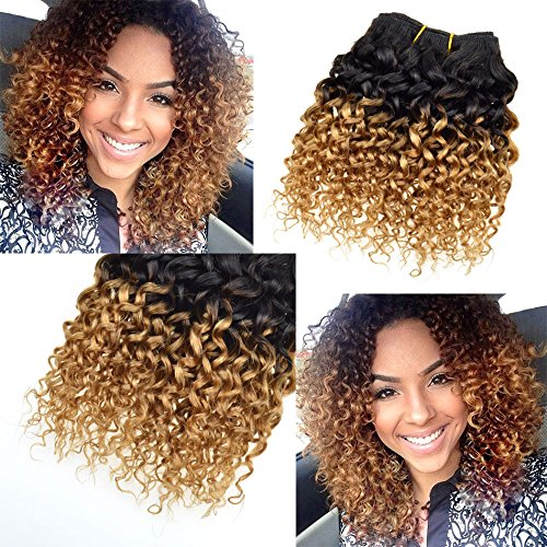 8 Inch 7a Grade Brazilian Ombre Kinky Curly Hair Wefts Honey Blond Human Hair Extensions 4pcs/Lot Brazilian Virgin Curly Hair lilika