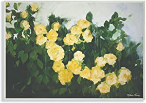Stupell Industries Abstract Rose Flower Bush Yellow Painting Signs and Plaques, 12 x 18, multi-color