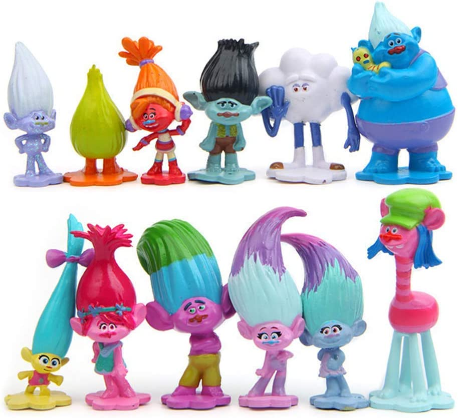 12 Pcs Troll Toys Cake Decoration, Mini Figure Collection Playset, Cake Toppers, Children Troll Toys, Toy Movie Action Figures Collection Playset, Plant Pot Micro Land Decor (1.6-2.8inch)