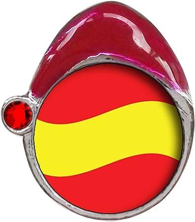 La bandera de España rojo Siam cristal de enero de piedra rojo sombrero de Papá Noel Navidad granos del encanto pulseras: Amazon.es: Hogar